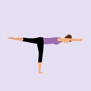Yoga-Übung Krieger 3